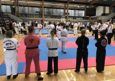 Day 1. Female Advanced Sparring. Georgia surrounded by black belt opponents